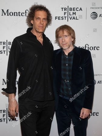 "Steven Cantor, Trey Anastasio. Steven Cantor, left, and Trey Anastasio, right, attend the screening for ""Between Me and My Mind"" during the 2019 Tribeca Film Festival at the Beacon Theatre, in New York"