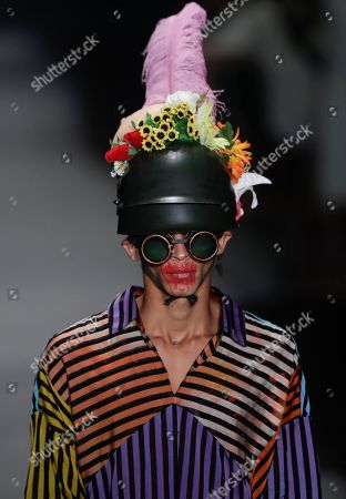 A model wears a creation from the Ronaldo Fraga collection during Sao Paulo Fashion Week in Sao Paulo, Brazil