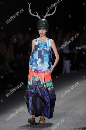 A model presents a creation of the label Ronaldo Fraga during Sao Paulo Fashion Week, in Sao Paulo, Brazil, 26 April 2019.