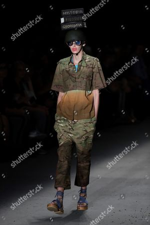 Stock Image of A model presents a creation of the label Ronaldo Fraga during Sao Paulo Fashion Week, in Sao Paulo, Brazil, 26 April 2019.