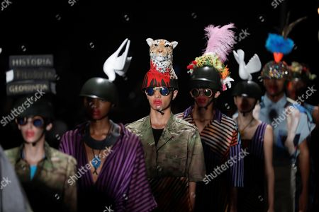 Stock Picture of Models present creations of the label Ronaldo Fraga during Sao Paulo Fashion Week, in Sao Paulo, Brazil, 26 April 2019.