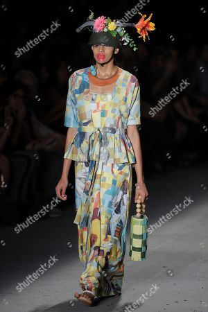 Stock Picture of A model presents a creation of the label Ronaldo Fraga during Sao Paulo Fashion Week, in Sao Paulo, Brazil, 26 April 2019.