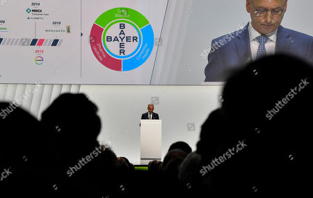 CEO Werner Baumann speaks to shareholders during the annual general meeting of Bayer AG in Bonn, Germany. Following the record acquisition of U.S. biotech and seed company Monsanto, Bayer lost around half of its value in market capitalization. For the first time shareholders did not approve the actions of the Management Board
