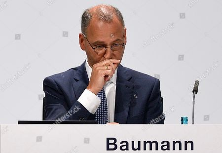 CEO Werner Baumann attends the annual general meeting of Bayer AG in Bonn, Germany, Friday, April 26, 2019. Following the record acquisition of U.S. biotech and seed company Monsanto, Bayer lost around half of its value in market capitalization. For the first time shareholders did not approve the actions of the Management Board