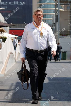 Stock Picture of Formula One Managing Director of Motorsports and technical director, Ross Brawn walks through the paddock at the Baku City Circuit in Baku, Azerbaijan, 27 April 2019. The 2019 Formula One Grand Prix of Azerbaijan will take place on 28 April.