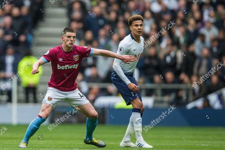 Declan Rice (West Ham) holds back Dele Alli (Tottenham) as he waits for the ball during the Premier League match between Tottenham Hotspur and West Ham United at Tottenham Hotspur Stadium, London