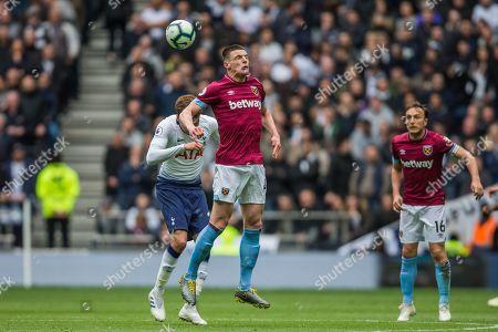 Declan Rice (West Ham) heading the ball during the Premier League match between Tottenham Hotspur and West Ham United at Tottenham Hotspur Stadium, London
