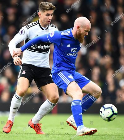 Tom Cairney of Fulham and Aron Gunnarsson of Cardiff City