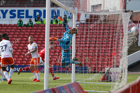 Goal scored by Barnsley defender Liam Lindsay (6)  during the EFL Sky Bet League 1 match between Barnsley and Blackpool at Oakwell, Barnsley