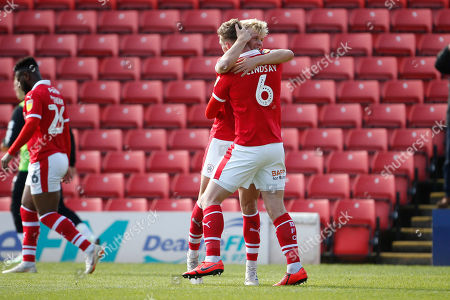 Goal celebration by Barnsley defender Liam Lindsay (6)  during the EFL Sky Bet League 1 match between Barnsley and Blackpool at Oakwell, Barnsley