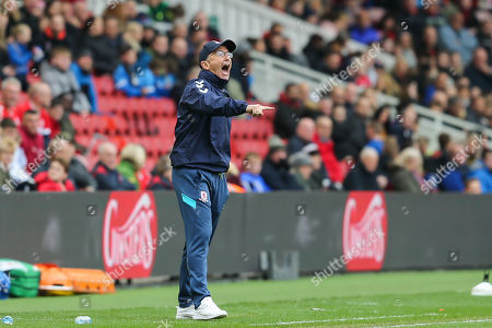 Middlesbrough Manager, Tony Pulis barks out his orders during the EFL Sky Bet Championship match between Middlesbrough and Reading at the Riverside Stadium, Middlesbrough