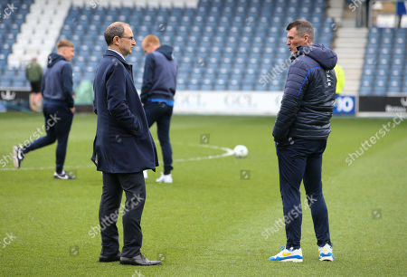 Roy Keane - Assistant Manager with Martin O'Neill manager of Nottingham Forest on the pitch at Loftus Road