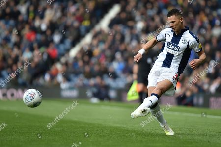 West Bromwich Albion defender Kieran Gibbs (3) gets in a cross during the EFL Sky Bet Championship match between West Bromwich Albion and Rotherham United at The Hawthorns, West Bromwich