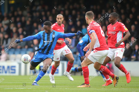 Brandon Hanlan of Gillingham gets ready to take a shot at the Charlton Athletic goal during Gillingham vs Charlton Athletic, Sky Bet EFL League 1 Football at The Medway Priestfield Stadium on 27th April 2019