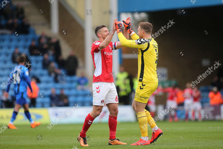 Stock Photo of Jason Pearce and Charlton goalkeeper, Dillon Phillips, celebrate their second goal scored by Josh Cullen during Gillingham vs Charlton Athletic, Sky Bet EFL League 1 Football at The Medway Priestfield Stadium on 27th April 2019
