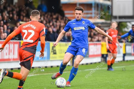 AFC Wimbledon Midfielder Anthony Hartigan (8) during the EFL Sky Bet League 1 match between AFC Wimbledon and Wycombe Wanderers at the Cherry Red Records Stadium, Kingston