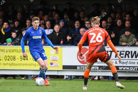 AFC Wimbledon Defender Steve Seddon (15) during the EFL Sky Bet League 1 match between AFC Wimbledon and Wycombe Wanderers at the Cherry Red Records Stadium, Kingston