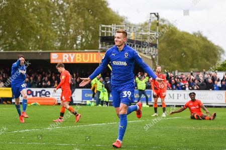AFC Wimbledon Forward Joe Pigott (39) celebrates scoring a goal (2-1) during the EFL Sky Bet League 1 match between AFC Wimbledon and Wycombe Wanderers at the Cherry Red Records Stadium, Kingston