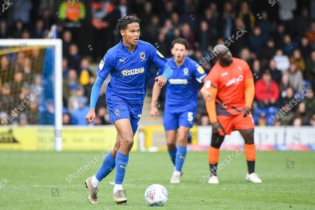 AFC Wimbledon Defender Toby Sibbick (20) during the EFL Sky Bet League 1 match between AFC Wimbledon and Wycombe Wanderers at the Cherry Red Records Stadium, Kingston