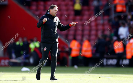 Southampton Manager Ralph Hasenhuttl celebrates at full time after hearing the scores from other games, sealing their Premier League survival.