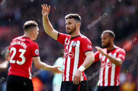 Shane Long of Southampton celebrates scoring the opening goal.