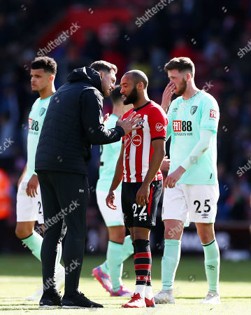 Stock Image of Southampton Manager Ralph Hasenhuttl speaks with Nathan Redmond of Southampton at full time.