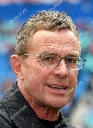 Leipzig's head coach Ralf Rangnick talks with journalists prior the German Bundesliga soccer match between RB Leipzig and SC Freiburg in Leipzig, Germany