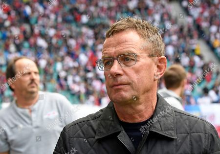 Leipzig's head coach Ralf Rangnick arrives for the German Bundesliga soccer match between RB Leipzig and SC Freiburg in Leipzig, Germany