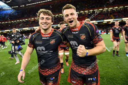 Stock Picture of Rhodri Williams and Josh Lewis of Dragons celebrate at the end of the game.