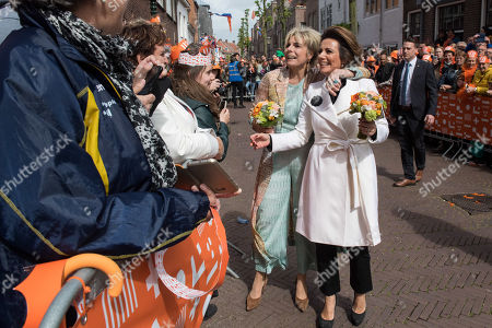 Princess Laurentien and Princess Annette celebrating King Willem-Alexander's 52st birthday during Kingsday (Koningsdag) 2019 in Amersfoort, The Netherlands.
