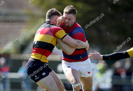 Clontarf vs Lansdowne. Clontarf's Sean O'Brien with Peter Sullivan of Lansdowne