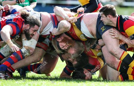 Clontarf vs Lansdowne. Clontarf's Mick McGrath and Lansdowne's Martin Mulhall during a scrum