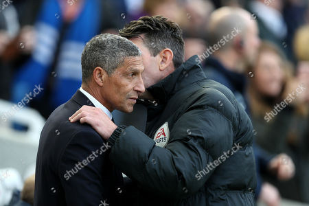 Brighton and Hove Albion Manager Chris Hughton speaks to Fourth Official Lee Probert