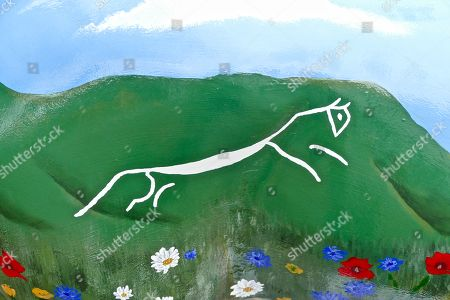Jewel by Alan Titchmarsh at the bottom of Windsor Castle with the Uffington White Horse painted on