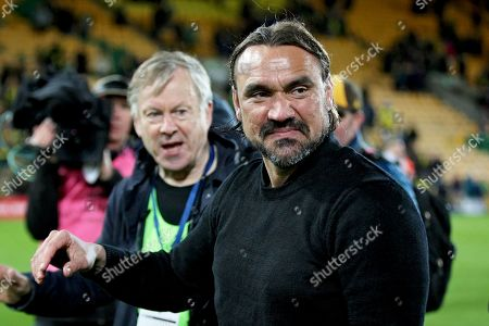 Norwich City Manager Daniel Farke celebrates with the Norwich fans after the EFL Sky Bet Championship match between Norwich City and Blackburn Rovers at Carrow Road, Norwich