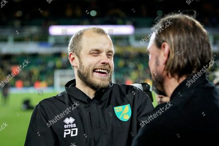 Norwich City Manager Daniel Farke celebrates with Norwich City forward Teemu Pukki (22)  after the EFL Sky Bet Championship match between Norwich City and Blackburn Rovers at Carrow Road, Norwich