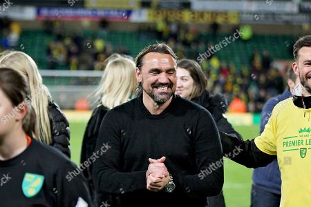 Norwich City Manager Daniel Farke celebrates promotion to the Premier League after the EFL Sky Bet Championship match between Norwich City and Blackburn Rovers at Carrow Road, Norwich