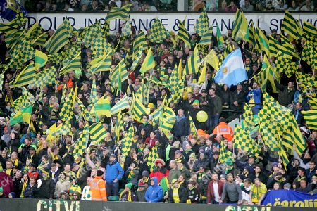 Norwich City fans before the EFL Sky Bet Championship match between Norwich City and Blackburn Rovers at Carrow Road, Norwich