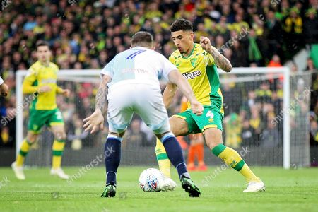 Norwich City midfielder Ben Godfrey (4) during the EFL Sky Bet Championship match between Norwich City and Blackburn Rovers at Carrow Road, Norwich