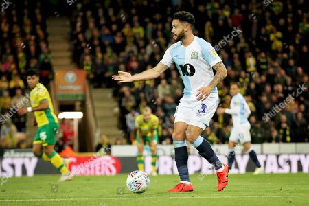 Blackburn Rovers defender Derrick Williams (3)   during the EFL Sky Bet Championship match between Norwich City and Blackburn Rovers at Carrow Road, Norwich