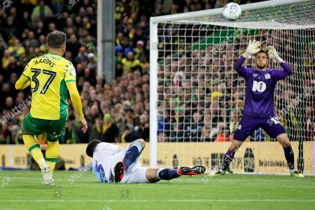 Norwich City defender Max Aarons (37) blasts this one over the bar during the EFL Sky Bet Championship match between Norwich City and Blackburn Rovers at Carrow Road, Norwich