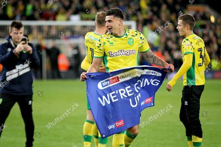 Norwich City midfielder Ben Godfrey (4)  celebrates after the EFL Sky Bet Championship match between Norwich City and Blackburn Rovers at Carrow Road, Norwich