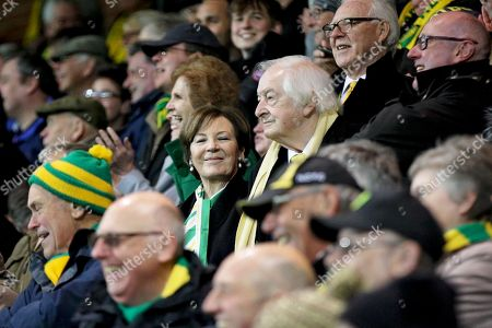 Norwich city owners Sell Smith and Michael Wynn Jones celebrating promotion after the EFL Sky Bet Championship match between Norwich City and Blackburn Rovers at Carrow Road, Norwich