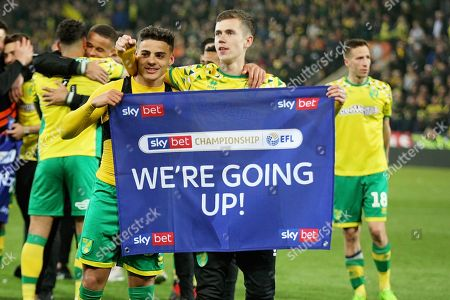 Norwich City midfielder Todd Cantwell (36)  and Norwich City defender Max Aarons (37)  celebrate after the EFL Sky Bet Championship match between Norwich City and Blackburn Rovers at Carrow Road, Norwich