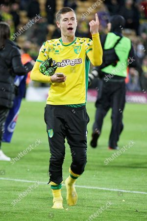 Stock Picture of Norwich City midfielder Todd Cantwell (36) celebrating promotion after the EFL Sky Bet Championship match between Norwich City and Blackburn Rovers at Carrow Road, Norwich