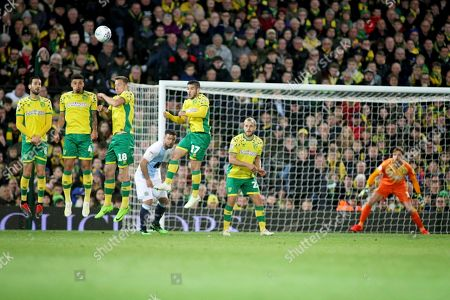 The Norwich wall stands firm after this free kick go's over the bar over the bar during the EFL Sky Bet Championship match between Norwich City and Blackburn Rovers at Carrow Road, Norwich