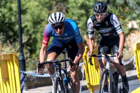 Spanish rider Alberto Contador (R) in action during the 10th Touring Cyclist 'La Mallorca 312 - Giant - Taiwan' in Andratx, Mallorca, Balearics, Spain, 27 April 2019.