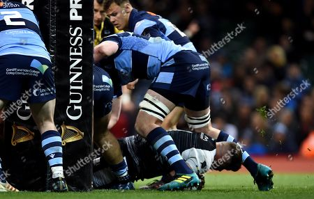 Stock Picture of Nicky Smith of Ospreys scores try.