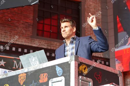 NFL RedZone host Scott Hanson is seen on Day 3 of the NFL football draft, in Nashville, Tenn. on