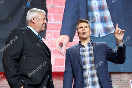 Former head coach Rex Ryan is seen with NFL RedZone host Scott Hanson on Day 3 of the NFL football draft, in Nashville, Tenn. on